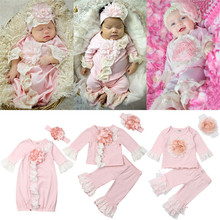 PUDCOCO Newest Baby Girls Lace 3D Flower Clothes Tops T-Shirt Long Pants Sleeping Bag+Headband Outfit Pajamas Sleepwear & Robes
