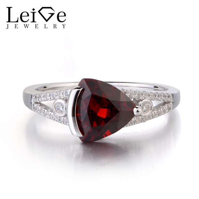 Leige Jewelry Natural Garnet Solid 925 Sterling Silver Ring Red Gemstone Birthstone Trillion Cut Promise Wedding Rings for Her