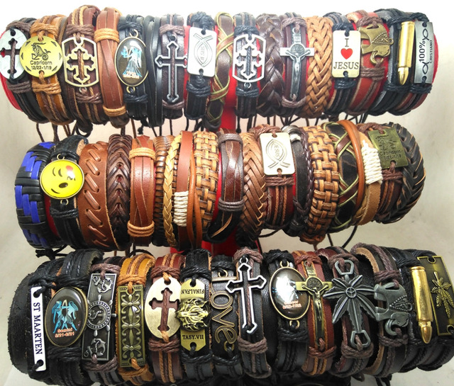 Wholesale 50pcs MIX LOT Alloy Leather Bracelets Men's Vintage Fashion Wristbands Cuff  Men 2017 Bangles for women
