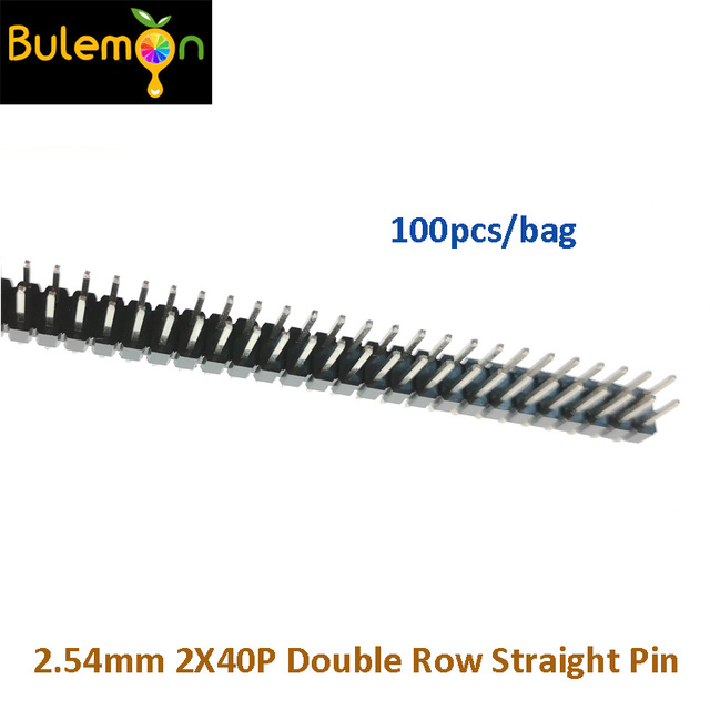100pcs/lot 2.54 Double Row Pin 2*40P Pitch 2.54MM Double Row Straight Pin