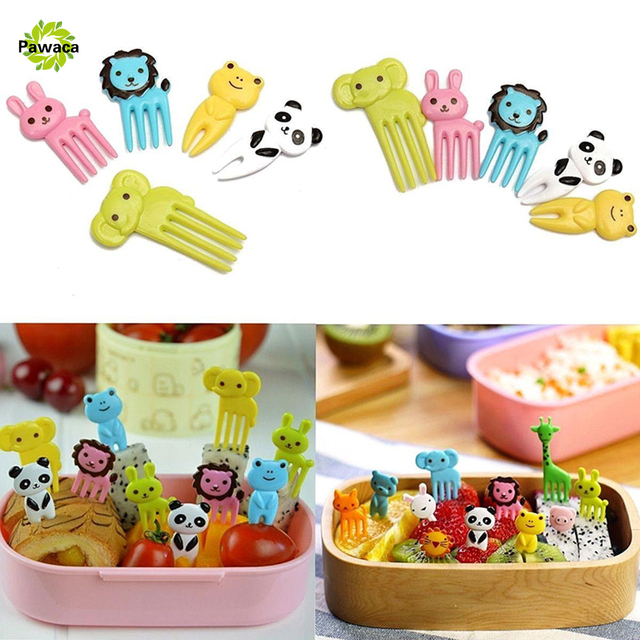 Pawaca 10PCS Animals Cartoon Food Forks Lovely Plastic Fruit Picks Decoration Bento Lunch Box Party Accessories Random Color