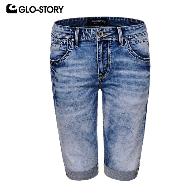 GLO-STORY Men's 2019 Fashion Street wear Knee Length Distressed Ripped Denim Short Pants Men Slim Fit Jeans Shorts MNK-8195
