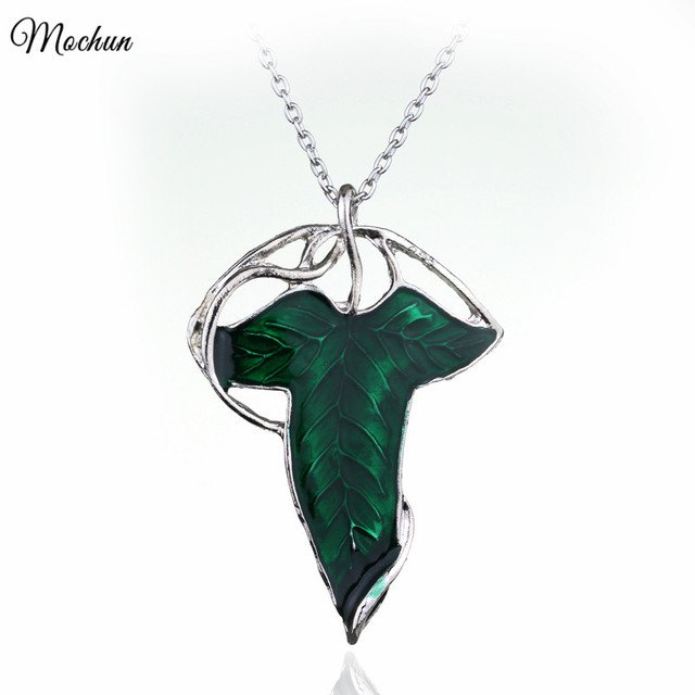 MQCHUN Movie Jewelry Lord Of The Elven Leaf Arwen Evenstar Alloy Pendant Elves Aragorn Green Leaves Gift For Man And Woman