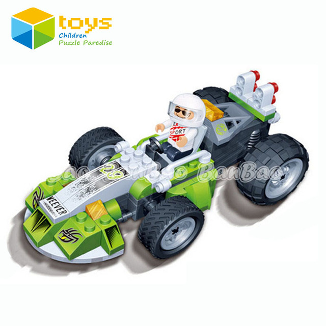 hot building blocks assembled  pull back car puzzle Children kids game toys racing truck ABS DIY 3D powerful gift free shipping