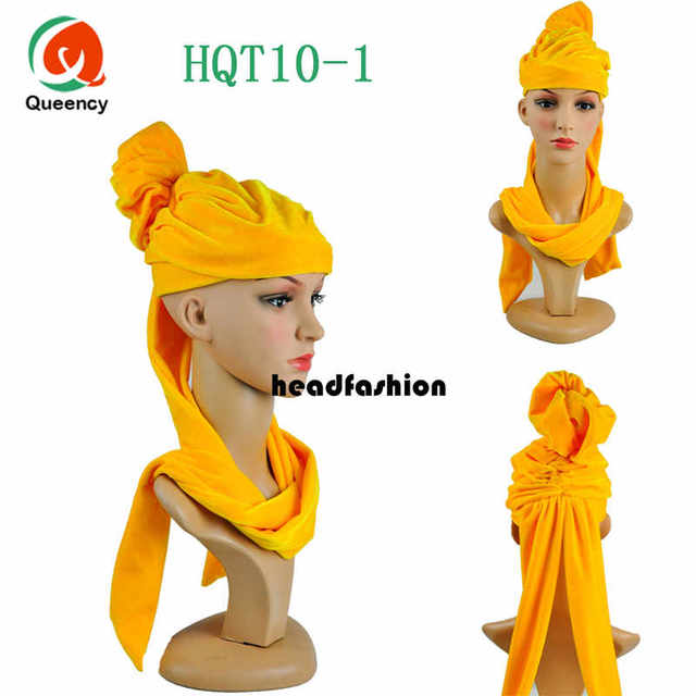 HQT10New Fashion African Solid Velvet Lace headwrap and scarf,soft African Headtie, African turban,Women's Accessories Hot sele.