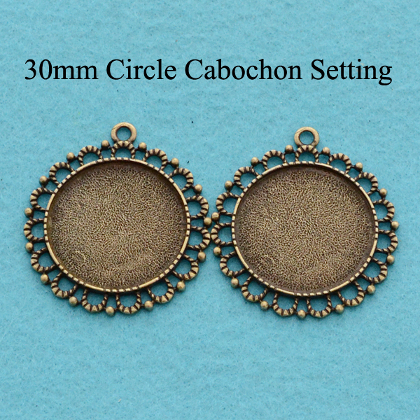 30mm Cameo Settings Antique Bronze, 30mm Round Cabochon Tray, Blank Bezel Setting, 30mm Tray Pendant