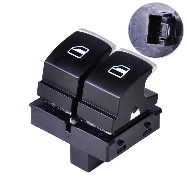 beler Chrome Plated Window Control Switch Button Fit for VW Golf Passat GTI Rabbit Eos 2 Doors 5K3959857