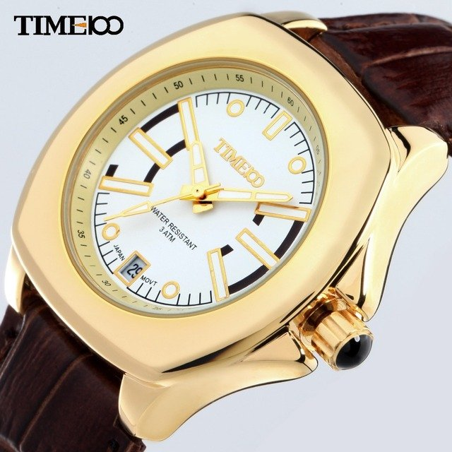 TIME100 Women Watches Water Reistant Gold Alloy Case Brown Leather Strap Business Laides Wrist Watch For Women relogio feminino
