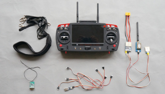 Skylark Remote Control Digital Radio Transmitter FPV System Total Solution built in 7 inch monitor and 2.4G 5.8G TX RX trace OSD