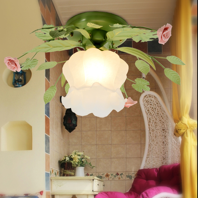 Free shipping residential lamp / light ,Modern rural bedroom/ corridor lamp glass chandelier  dia 45cm flower LED  light