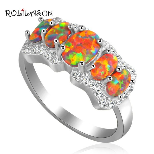 ROLILASON Super supplier Wholesale retail summer vibe Orange fire Opal silver colorRingsjewelry USA SZ #6#7#8#8.5 OR623