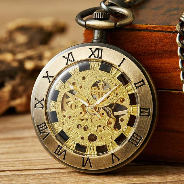 Unique Retro Bronze Hollow Mechanical Pocket Watch Men Roman Number Dial Steampunk Hand Winding Pocket Watches Male Clock Gifts