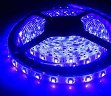 Free shipping 16.4ft 5M UV 395nm 3528 SMD Purple 300 LED Flexible Strip Lights Waterproof 12V Good Quality Led Tape Ribbon