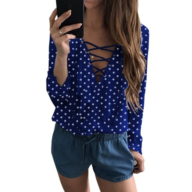 Ladies Polka Dot V Neck Shirt Tops Women Chiffon Blouse Sexy Lace Up Loose Blouse