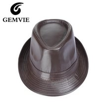 Autumn Winter Men PU Leather Fedoras Vintage Style Jazz Cap Keep Warm Hat Curved Brim Hat