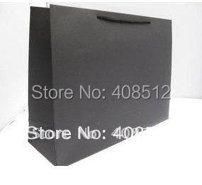 40cm W x 30cm H x 12cm D  custom logo Black cardstock paper bag for clothes store