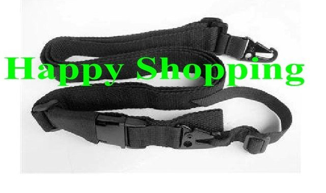 3 Three Point Rifle Sling Adjustable Bungee Tactical Airsoft Gun Strap for Airsoft Hunting Black