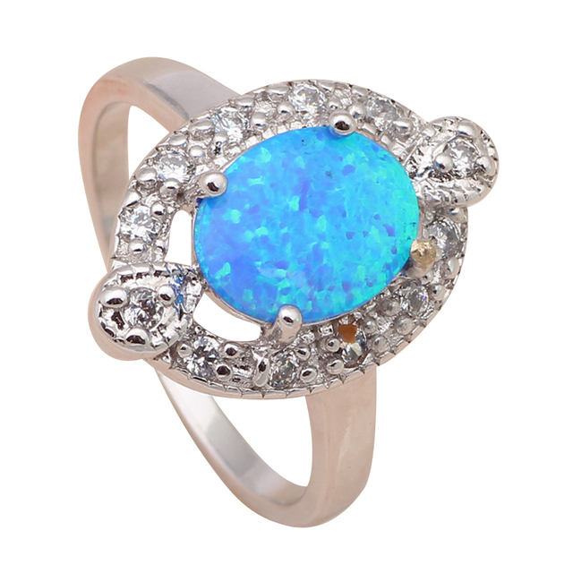 Delicate design Blue fire Opal 925 Silver Zirconia Rings fashion jewelry USA size #6.75 #7.75 OR460A
