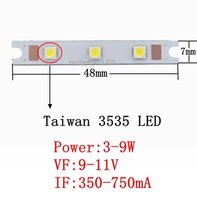1pcs 3W 9W COB 3535 strip rectangle LED light source chip on board 48x7mm COB bar for wall lamps table lantern car lights DIY