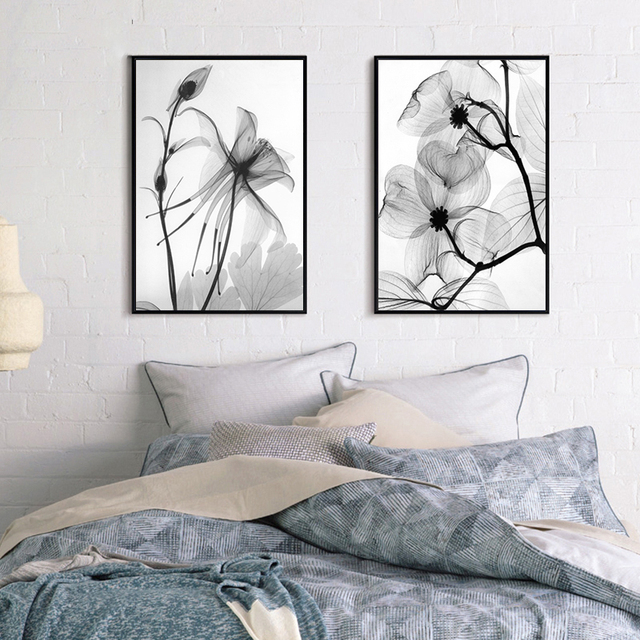 Nordic decorative painting drawing room dining room wall painting transparent flower bed flower painting modern minimalist paint
