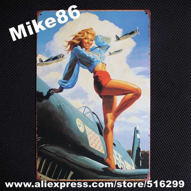 [ Mike86 ] Vintage Sexy Lady With Plane Wall signs decor Bar Metal Painting art  B-174 Mix order 20*30 CM