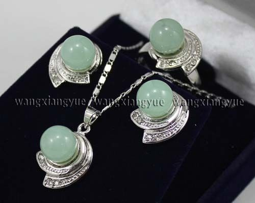 Free shipping Fashion Jewelry Green stone s Earrings & Ring & Necklace Pendant Set