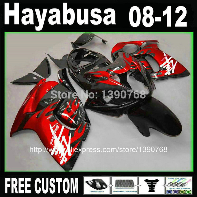 MOTOMARTS  - Injection mold Customize fairing kit for SUZUKI Hayabusa GSX 1300R 2008-2014 GSX1300R 08-14 red black fairings  VS2