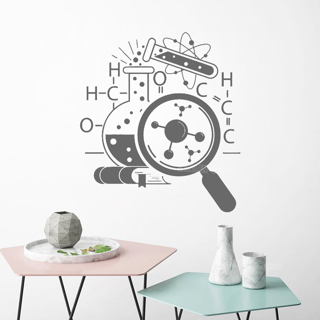 Science Chemistry Vinyl Wall Stickers Lab Decor Removable Wall Decal Mural Teen Bedroom Scientist Art Decals Atom Book S518