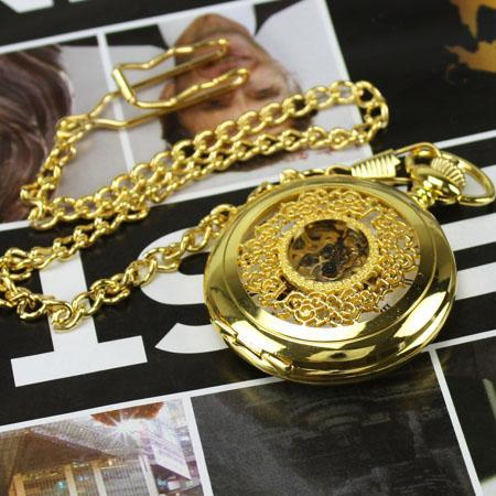 Elegant Gold Tone Argent Blossom Pocket Watch & Chain
