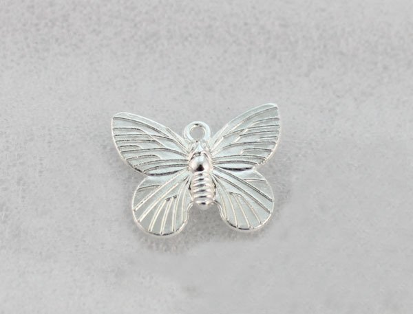 120PCS Bright silver plate 19X15MM butterfly charms A1266SP