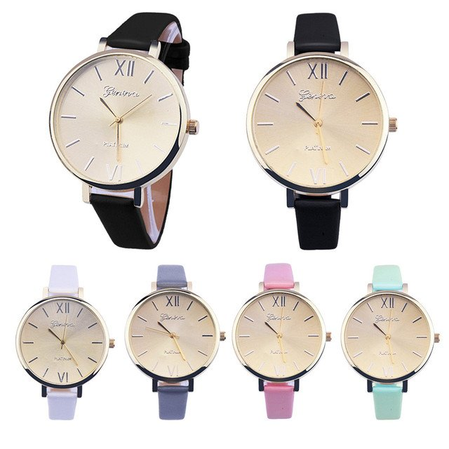 Women Big Dial Small PU Leather Geneva Watches 2018 Casual Simple Roman Numbers Analog Quartz Wrist Watch Relojes Mujer