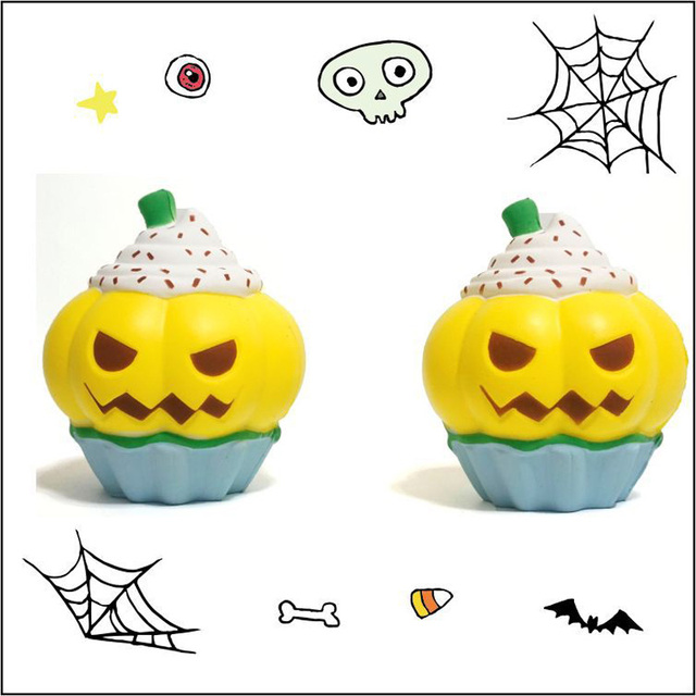 Funny Squishy Toy Pumpkin Ice Cream Slow Rising Squeeze Toy Halloween Decoration Children's Gift Squishies Novelty Fun Toy