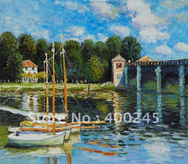 100% handmade +High quality Monet oil painting Reproduction Landscape art The Road Bridge