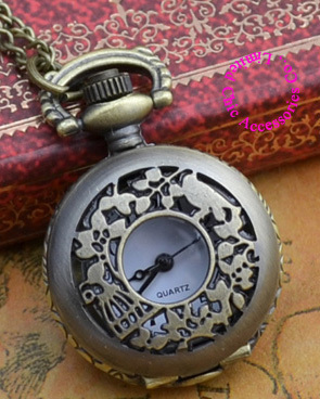 Coupon for wholesale buyer price good quality girl women lady new bronze vintage bird and cage figure pocket watch necklace hour