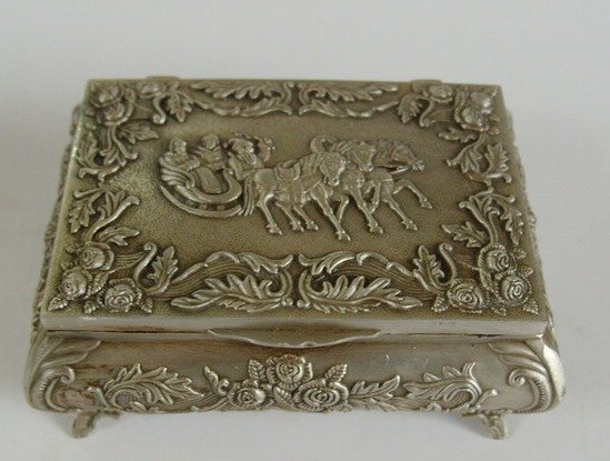 elegant Old Qing Dynasty silver Jewelry box, wonderful carving, #27,Free shipping