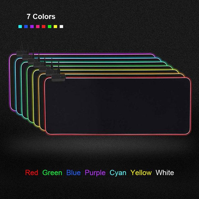 7Colors RGB Extra Large Mouse Pad Led Glowing Mouse Keyboard Mat With Locking Edge Anti-slip Gaming Illuminated Mousepad For PC