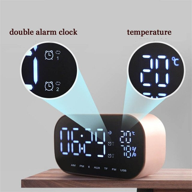 Smart Radio Alarm Clock Bluetooth Wireless Speaker Clock Temperature LCD Display Subwoofer Music Player Multifunction Desk Clock