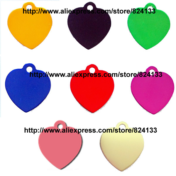 free shipping love heart shaped pets dogs cats id name tags,aluminum pet name tags,mix assorted colors