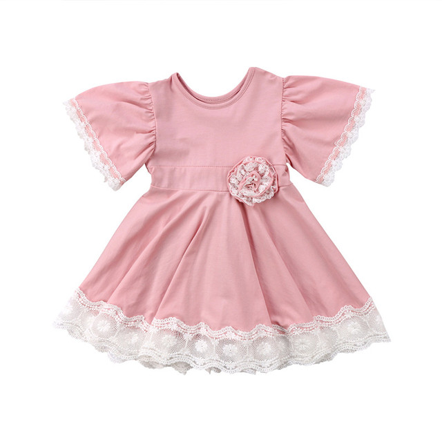 Toddler Fashion Princess Kids Baby Girls Clothes Summer Cotton Tutu Dress Lace Floral Party Dress Easter Casual Dresses