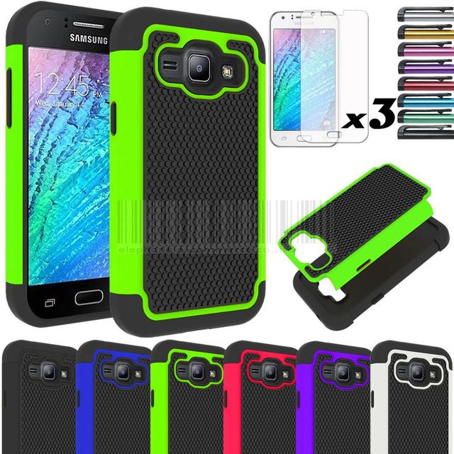 Hybrid Rubber Impact Armor Hard Dual Layer Case Cover With/Without FILMS STYLUS For Samsung Galaxy J1 J100 J100F