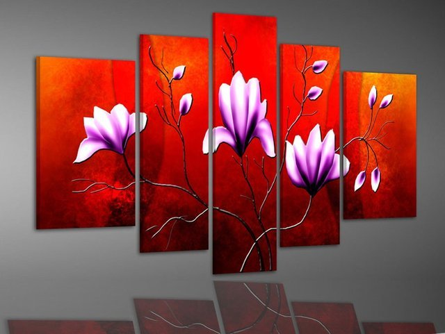 hand-painted  Red background  Pure purple flowers  decoration free shipping  Landscape oil painting canvas painting 5pcs/set