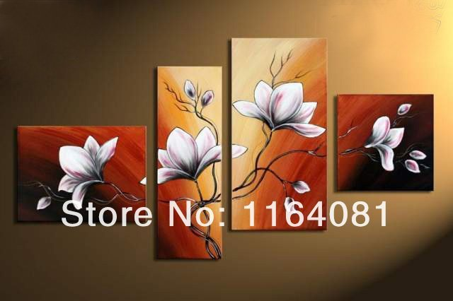 Hand-painted Art Autumn Brown Red Flower Bloom Home Decoration Abstract Landscape Oil Painting On Canvas 4pcs/set No Frameworks