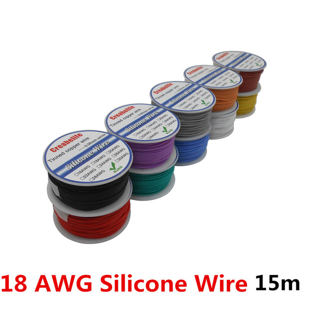 15m/lot 18 AWG Flexible Silicone Wire 10 Colors RC Cable Line With Spool OD 2.3mm Tinned Copper Wire Electrical Wire