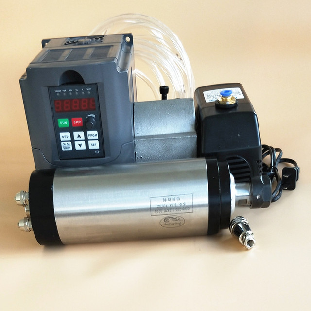 High quality 800W Spindle Motor Kits 0.8KW Water Cooled Spindle + 1.5KW 220V Inverter + 65mm Clamp + Pump+Pipe +Full ER11 Collet