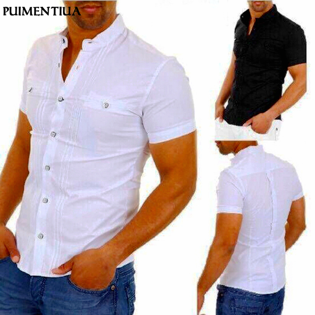 Puimentiua Men Casual Shirts Solid Short Sleeve Cotton Button Down Dress Shirts Turn Down Collar Male Slim Fit Office Party Tops