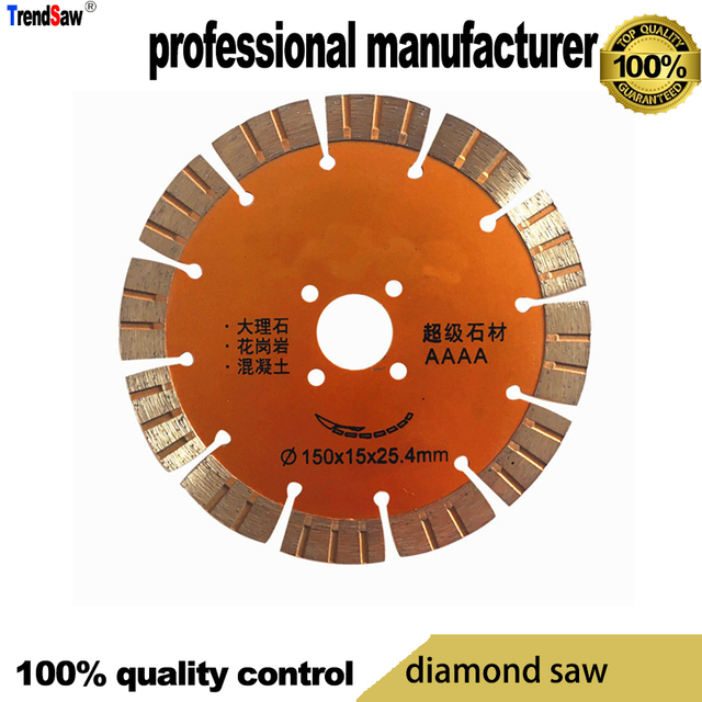 diamond saw blade for stone cement marble and glasses cutting 150mm  and 25.4mm hole export to japan