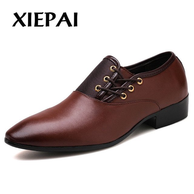 2019 Designer Men Black Shoes Brand Oxfords Pointed Toe Male Dress Shoes Leather Wedding Shoes Italy Sapato Masculino 38-48