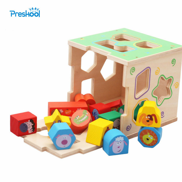 Preskool Baby Toy For Children Geometric Shaped Wooden Paired Blocks Cartoon Shaped Intelligence Box Education Toy