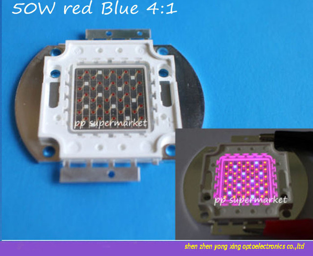 50W Red 660nm & Blue 445nm 4:1 LED Grow Plant light Lamp