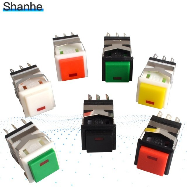 spring return momentary push button switch with lamp